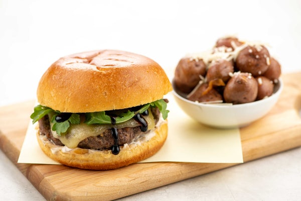French Onion Balsamic Burger With Swiss And Parmesan Potatoes Recipe Home Chef