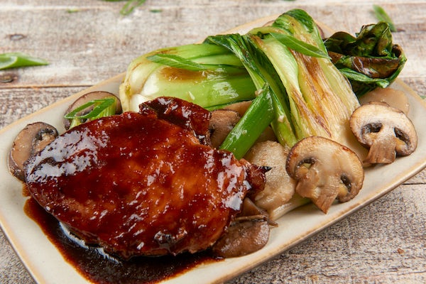 Teriyaki Chicken with baby bok choy and cremini mushroom stir-fry Cooked and Plated
