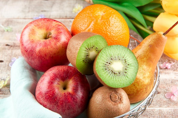 Springtime Fruit Basket (2-Servings Shown) with kiwis, Gala apples, Bosc pear, and orange Cooked and Plated