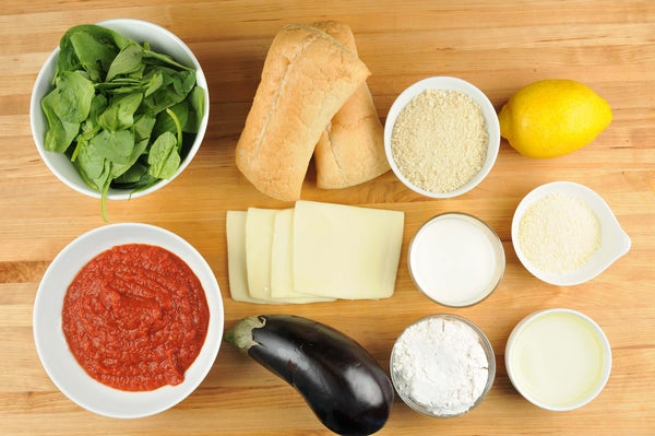 Eggplant Parmesan Sandwich with spinach-lemon salad Supplied Ingredients