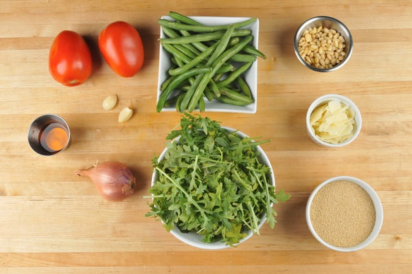 Amaranth Bowl with green beans, tomatoes, arugula, and Parmesan cheese Supplied Ingredients