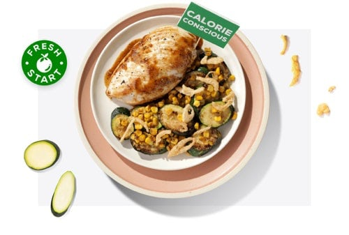 Calorie-conscious chicken and vegetables on a plate