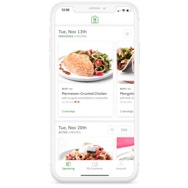 mobile phone with Home Chef app