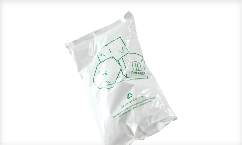 A recyclable Home Chef ice pack