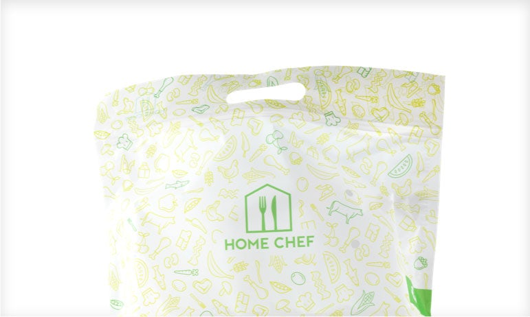 A recyclable Home Chef meal bag